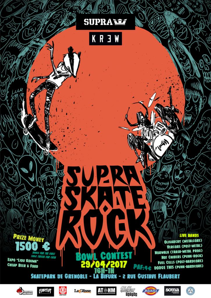 Affiche Supra Skate Rock 2017 skate contest