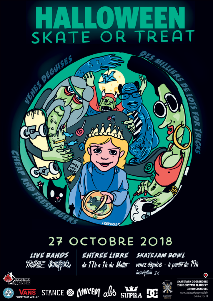 Affiche Halloween Skate Or Treat 2018 skate contest Skatepark De Grenoble