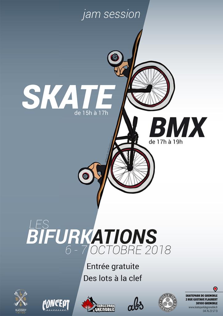 Affiche Les Bifurkations Jam 2018 Skatepark De Grenoble