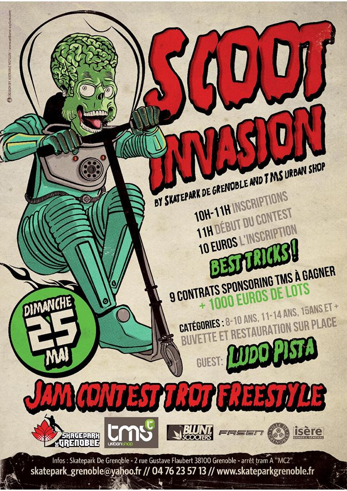 Affiche Scoot Invasion trottinette contest 2014 Skatepark de Grenoble