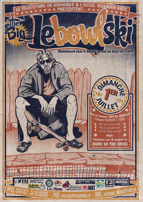 Affiche The Big Lebowlski 2012 skate contest Skatepark De Grenoble
