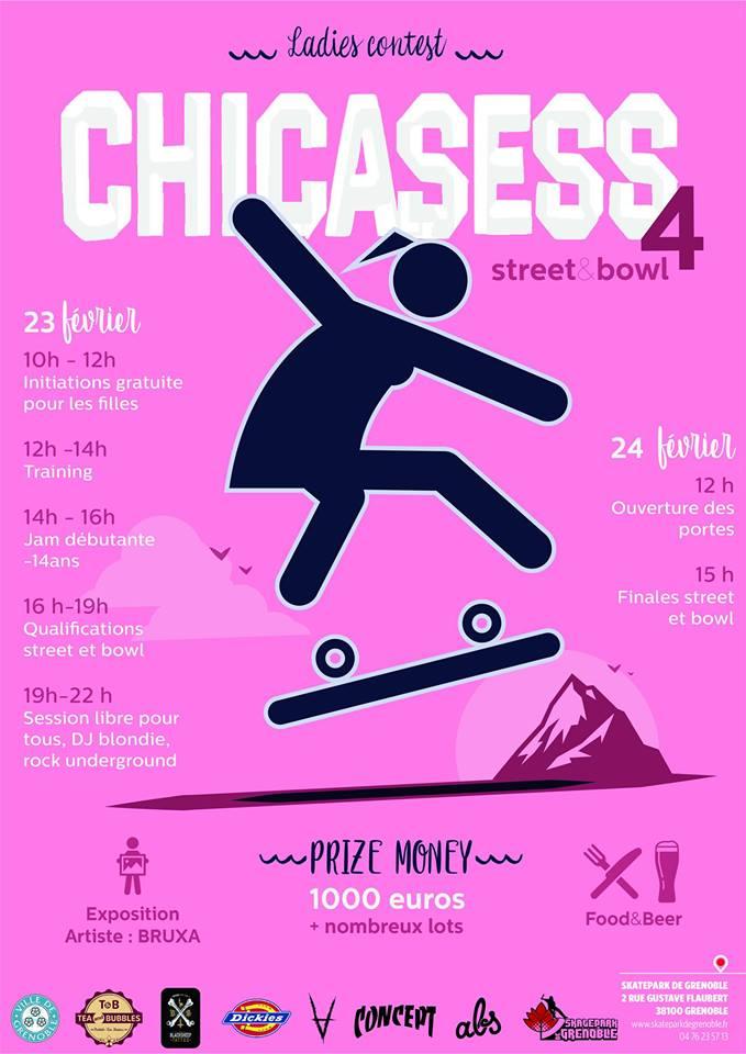 Affiche Chica Sess 4 2019 skate contest fille Skatepark de Grenoble