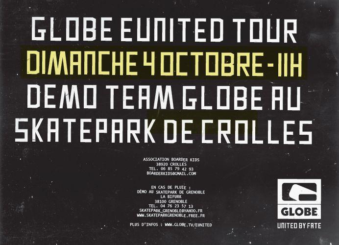 Flyer demo team Globe Crolles Skatepark de Grenoble