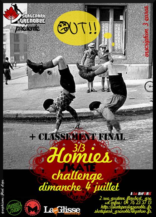 Affiche Homies Skate challenge SKatepark de Grenoble