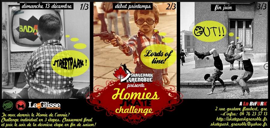 Affiches Homies Skate Challenge Skatepark de Grenoble
