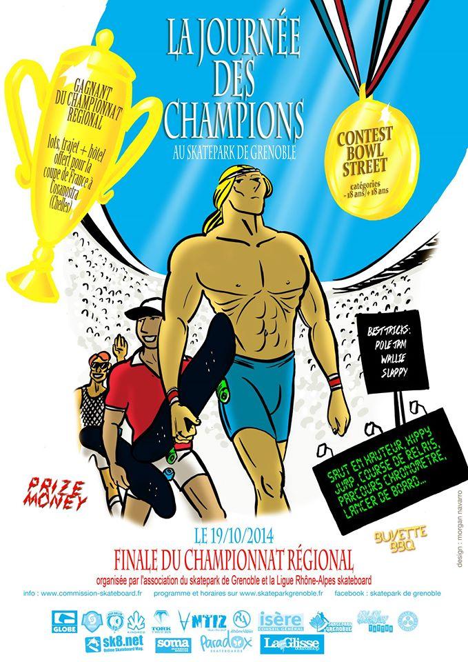 Affiche La Journée des Champions 2014 Skatepark de Grenoble