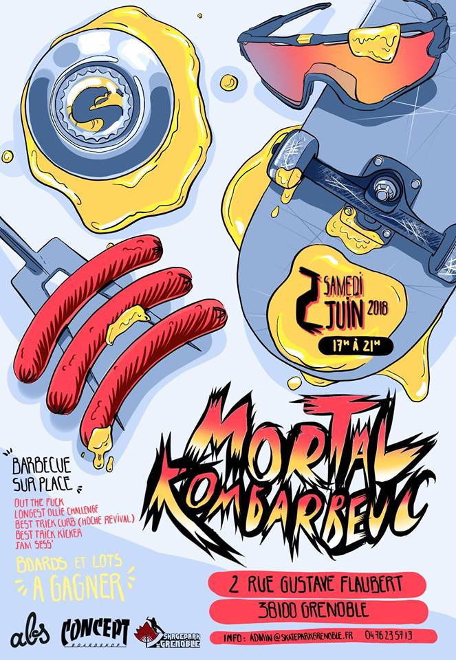 Affiche Mortal Kombarbeuc 2018 Skatepark de Grenoble