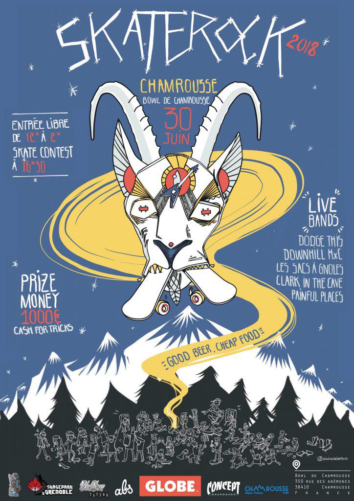 Affiche Skate Rock Chamrousse 2018 Skatepark de Grenoble
