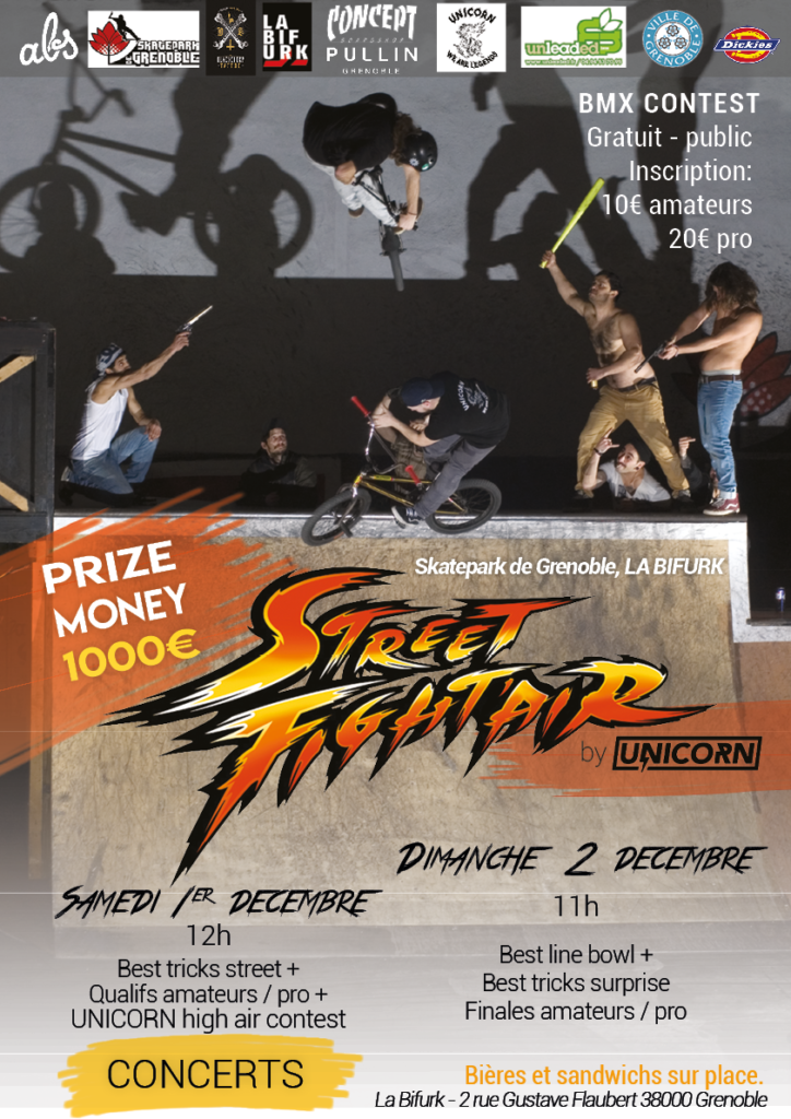 Affiche Street Fight'air 2018 contest BMX Skatepark de Grenoble