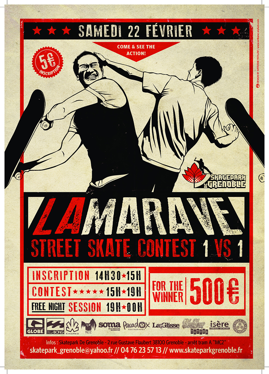 Affiche La Marave skate contest 2014 Skatepark de Grenoble