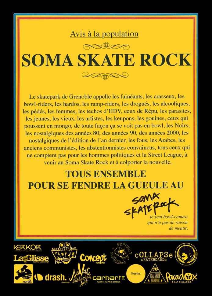 Flyer Soma Skate Rock 2015 Skatepark de Grenoble