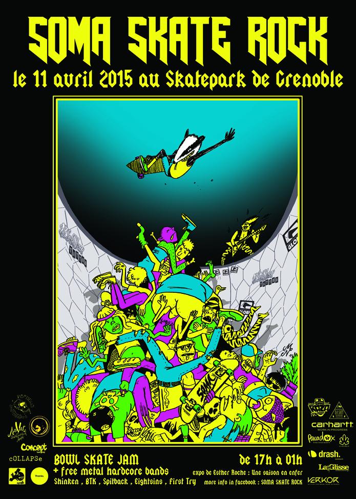 Affiche Soma Skate Rock 2015 Skatepark de Grenoble