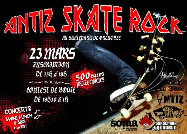Affiche Antiz Skate Rock 2013 Skatepark de Grenoble