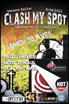 Affiche Clash My Spot contest roller 2011 Skatepark de Grenoble