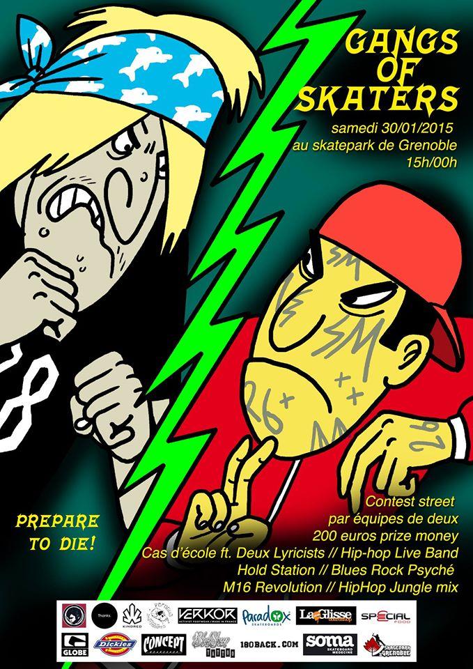 Affiche Gang Of Skaters skate contest 2016 Skatepark de Grenoble