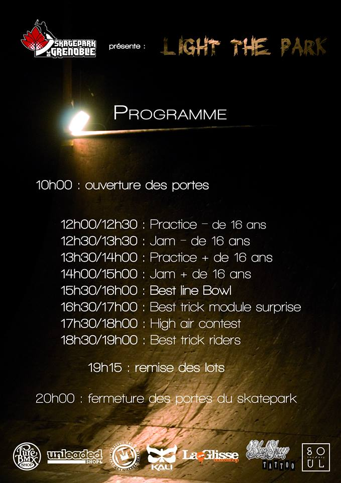 Affiche Light The Park 2014 Skatepark de Grenoble