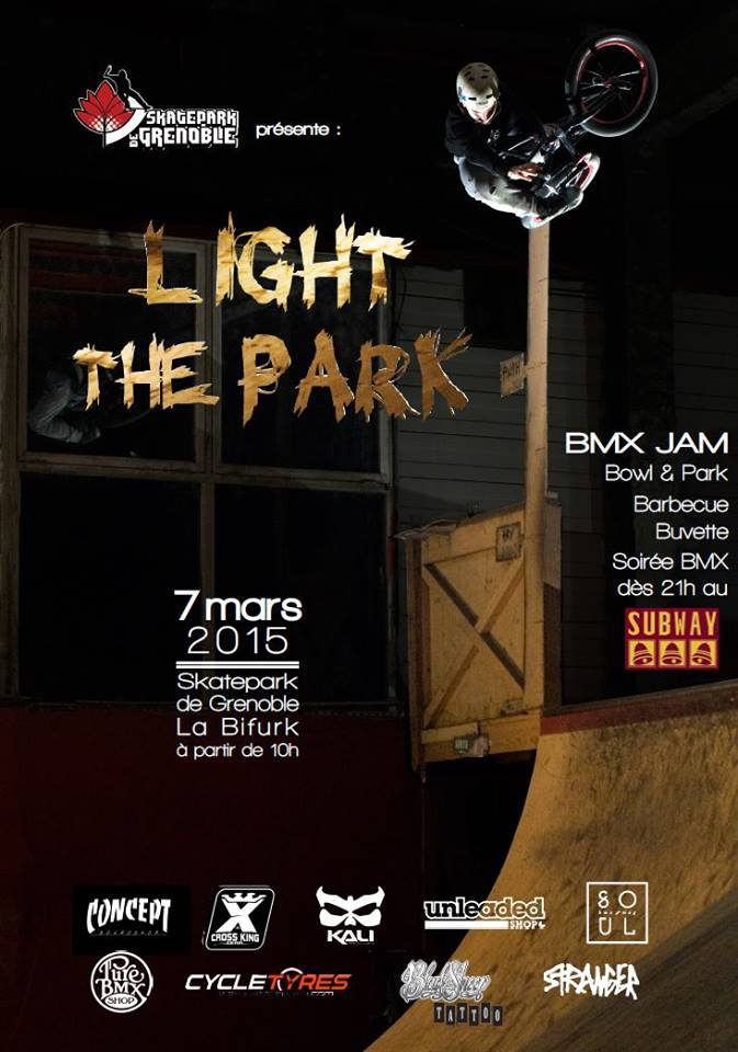 Affiche Light The Park BMX contest 2015 Skatepark de Grenoble