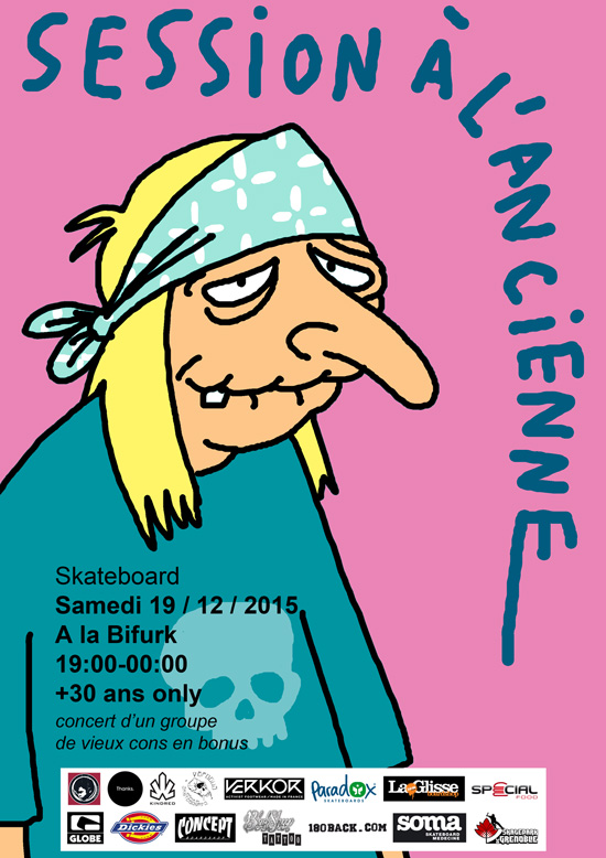 Affiche session à l'ancienne 2015 Skatepark de Grenoble